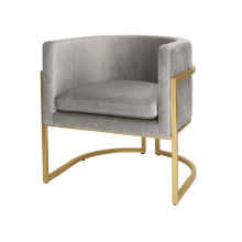 Gold Leaf Frame Barrel Chair In Grey Velvet | Gracious Style