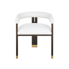 Modern Wooden Accent Chair With White Linen Upholstery | Gracious Style