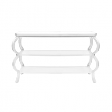 Three Tier Console In White Lacquer | Gracious Style