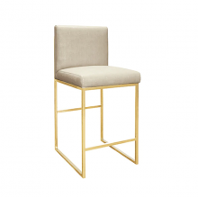 Faux Shagreen Beige Counter Stool With Brass Base | Gracious Style