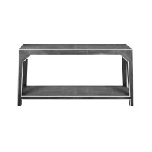 Dark Grey Shagreen Console With White Resin Edging | Gracious Style