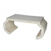 Hand Crafted Coffee Table With Faceted Legs and Bone Finish | Gracious Style