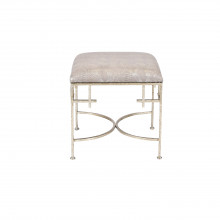 Champagne Silver Leaf Square Stool With Snakeskin Cushion | Gracious Style