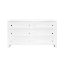 Six Drawer Chest With Acrylic Hardware In White Lacquer | Gracious Style