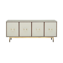 Four Door Low Cabinet In Cream Shagreen With Wood Trim | Gracious Style