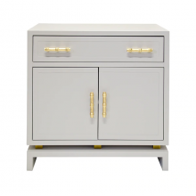 Gray Matte Lacquer Cabinet With Gold Leaf Bamboo Hardware | Gracious Style