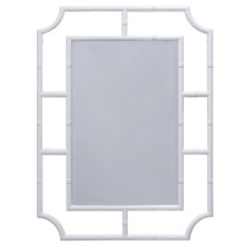 Bamboo Detail Mirror In White Lacquer | Gracious Style