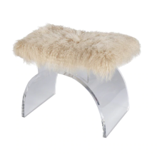 Lucite Arched Stool With Mongolian Fur Cushion | Gracious Style