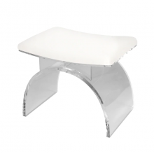 Lucite Arched Stool With White Linen Cushion | Gracious Style