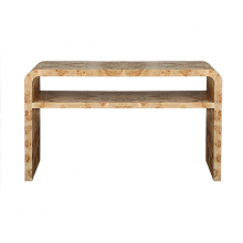 Waterfall Edge Two Tier Console Table In Burl Wood | Gracious Style