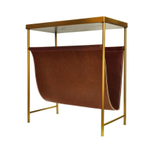 Magazine Rack With Faux Brown Leather And Brass Frame | Gracious Style