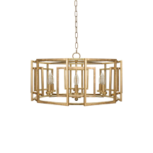 Square Motif Drum Chandelier With 6 Arm Light In Gold Leaf | Gracious Style