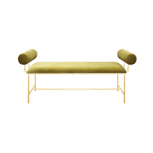 Bolster Arm Gold Leaf Bench In Lime Green Velvet | Gracious Style