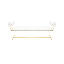 Bolster Arm Gold Leaf Bench In White Linen | Gracious Style