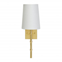 Gold Leaf Sconce With Bamboo Detail and White Linen Shade | Gracious Style