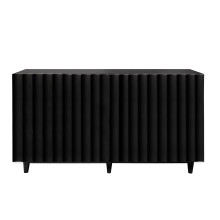 Black Lacquer 4 Drawer Scalloped Front Cabinet | Gracious Style