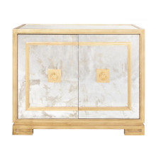 Antique Mirror and Gold 2 Door Cabinet With Greek Key Detail | Gracious Style