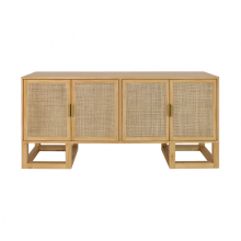 Cabinet With Cane Door and Brass Hardware In Pine | Gracious Style