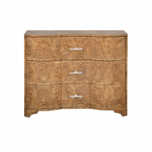 3 Drawer Chest In Dark Burl Wood With Acrylic Hardware | Gracious Style