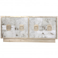 Entertainment Console Antique Mirror Champagne Silver Leaf | Gracious Style