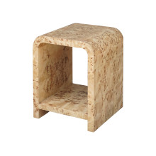 Waterfall Edge Two Tier Side Table In Burl Wood | Gracious Style