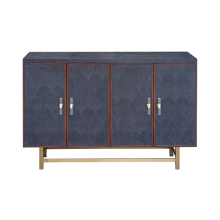 4 Door Cabinet With Fish Scale Navy Shagreen and Wood Trim | Gracious Style
