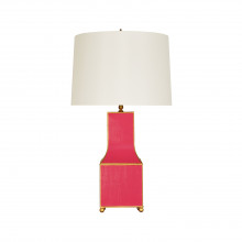 Hand Painted Pagoda Table Lamp In Pink With Gold Trim | Gracious Style