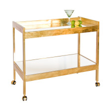 Gold Leaf Bar Cart With Casters and Plain Mir | Gracious Style