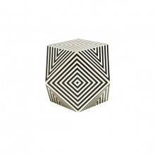Geometric Black And White Faux Bone Side Table | Gracious Style