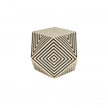 Geometric Brown And White Faux Bone Side Table | Gracious Style