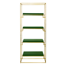 Gold Leaf Etagere Shelf With Green Lacquer Shelves | Gracious Style