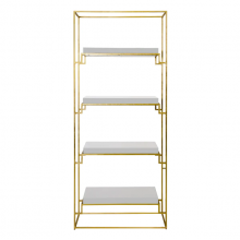Gold Leaf Etagere Shelf With White Lacquer Shelves | Gracious Style