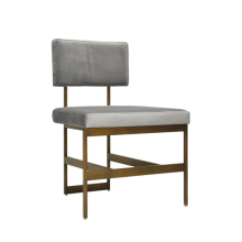 Modern Dining Chair With Grey Velvet Cushion In Bronze | Gracious Style