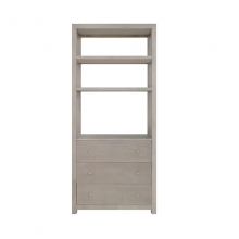 Etagere Shelf With Grey Grasscloth Case And Grey Linen Drawers | Gracious Style