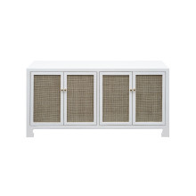 Cane Cabinet With Brass Hardware In White Lacquer | Gracious Style