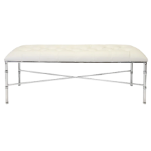 Nickel Bamboo Bench With Tufted White Vinyl Seat | Gracious Style