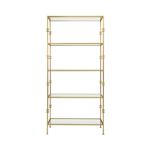 Tall Etagere Shelf With Square Iron Rings In Gold Leaf | Gracious Style