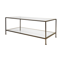 Sleek Rectangular Coffee Table Bronze And Beveled Glass | Gracious Style