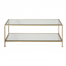 Hammered Gold Leaf Rectangular Coffee Table | Gracious Style
