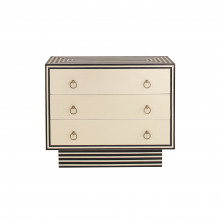 Black And White Stripe Faux Bone 3 Drawer Chest | Gracious Style