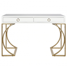 White Lacquer 2 Drawer Desk With Brass Base and Hardware | Gracious Style
