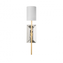 Mirror and Gold Leaf Wall Sconce With White Linen Shade | Gracious Style