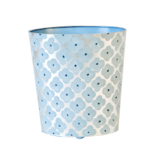 Oval Wastebasket Silver Leaf/Blue Pattern | Gracious Style