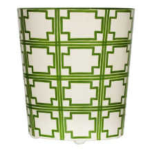 Oval Wastebasket Cream/Green Squares | Gracious Style