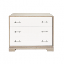 3 Drawer Dresser With Acrylic Hardware In Matte White Lacquer and Cerused Oak | Gracious Style