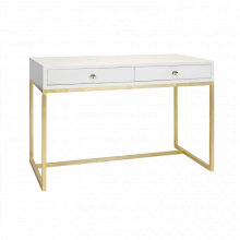 White Lacquer 2 Drawer Desk On Gold Leafed Base | Gracious Style