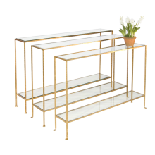 Hammered Gold Leaf Skinny Console With Glass | Gracious Style