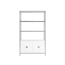 White Lacquer Cabinet With Nickel Frame and Glass Shelves | Gracious Style