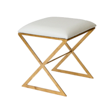"""X"" Stool, Gold With Cream Ostrich 