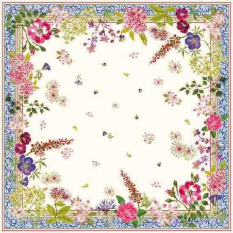 Millefleurs Cotton Printed Tablecloth 47 In Sq | Gracious Style